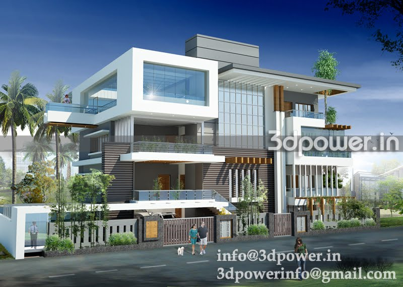 3d modern villa elevations in benglore joy studio design for Modern bungalow elevation