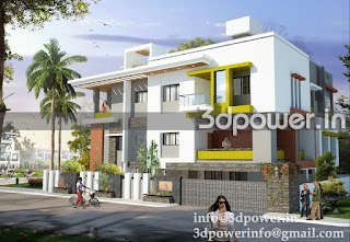 """3d exterior of contemporary bungalow"""