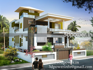 3d contemporary bungalow india Indian bungalow design