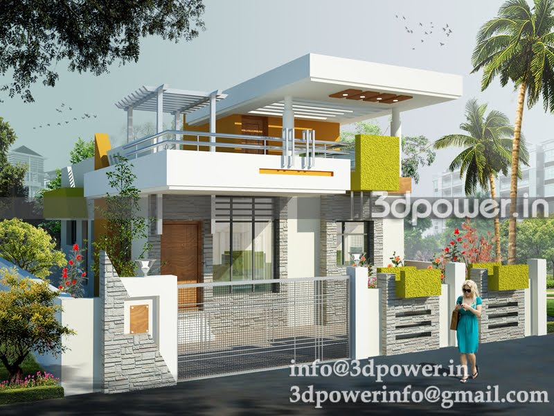 Landscape view of row houses Indian bungalow design