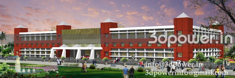 3d Front Elevation Of School : D animation rendering walkthrough interior