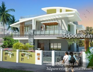 india: 3d modeling rendering bungalow, elevation of bungalow