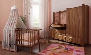 mobilier din lemn masiv camera baby