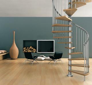 scar interioara tip spirala metal cu lemn