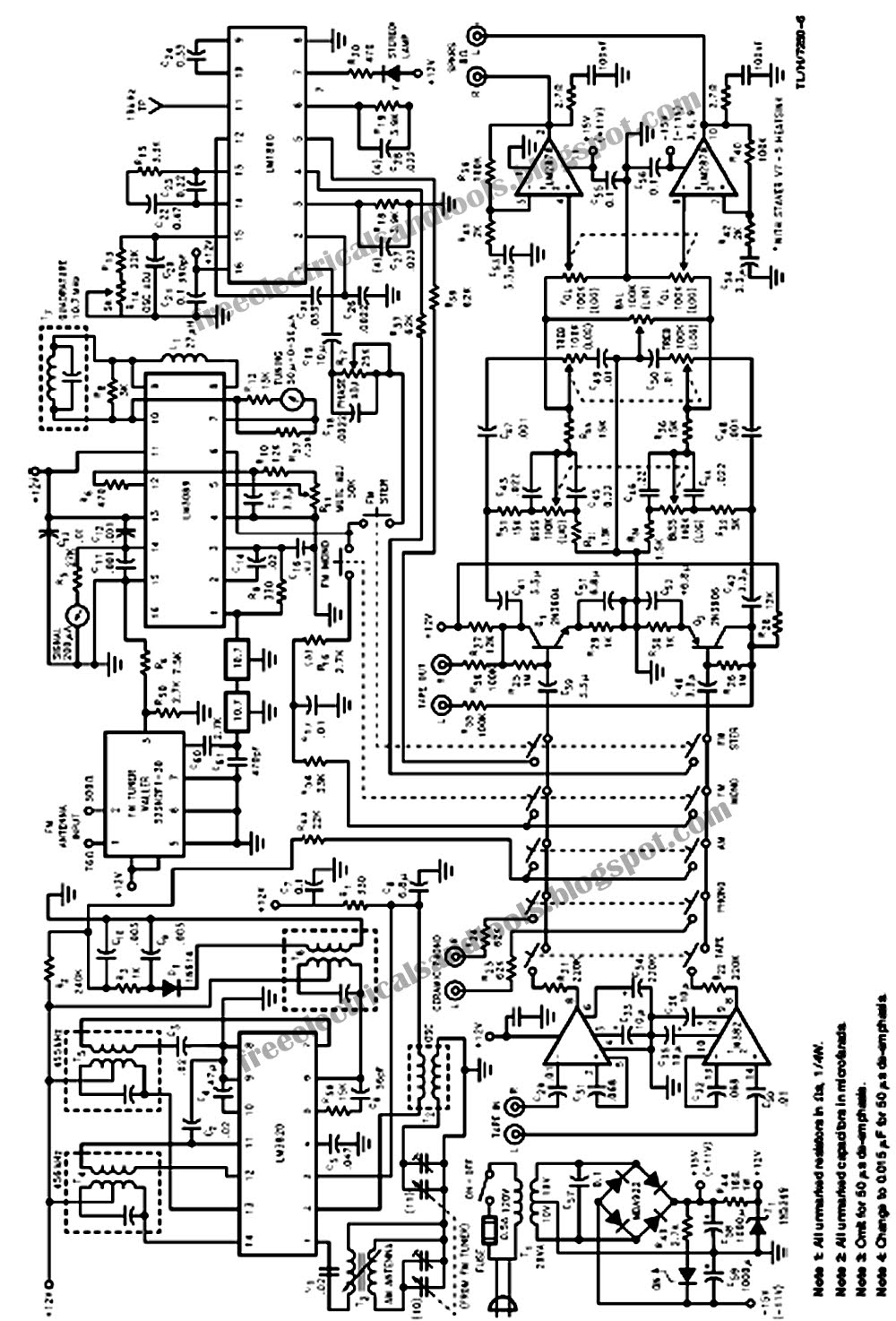 free schematic diagram  low cost ic stereo receiver circuit
