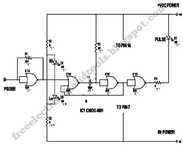 free schematic diagram  logic probe with pulse indicator circuit