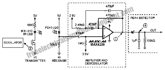 free schematic diagram  infrared  ir  proximity  distance