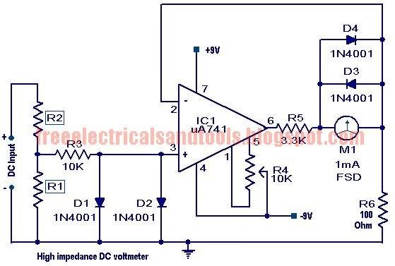 Free Schematic Diagram  High Impedance Dc Voltmeter
