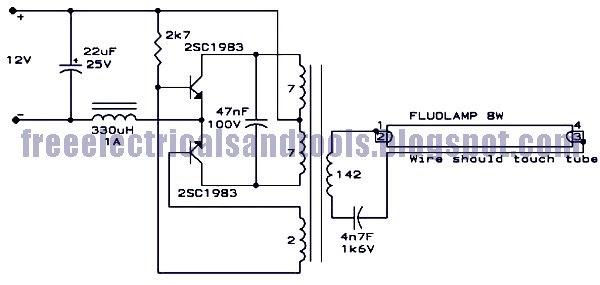 circuit diagram  8 watt flouroscent lamp driver circuit
