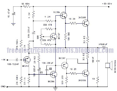 Free Schematic Diagram: 50 Watt Amplifier Circuit Using TransistorFree Schematic Diagram - blogger