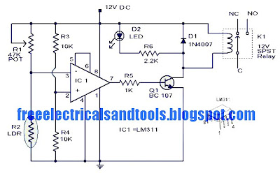 Circuit panel: Light Activated Switch Circuit Using LM311