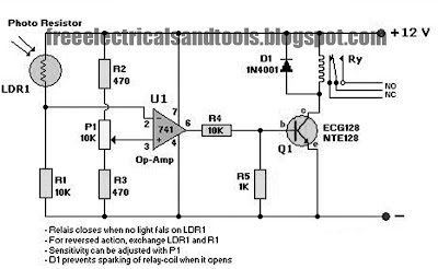Light Sensor Circuit Using Op Amp 741 | Circuit Schematic Diagram