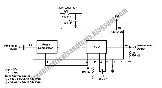 free schematic diagram  pll fm demodulator circuit module