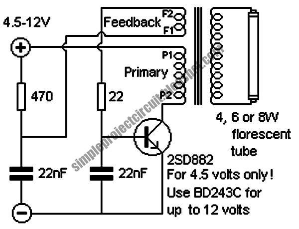 simple project circuit  simple inverter for florescent lamps