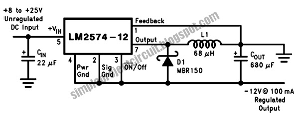 simple project electronic circuit  simple inverting buck