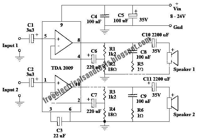 free schematic diagram  10 watt stereo amplifier circuit