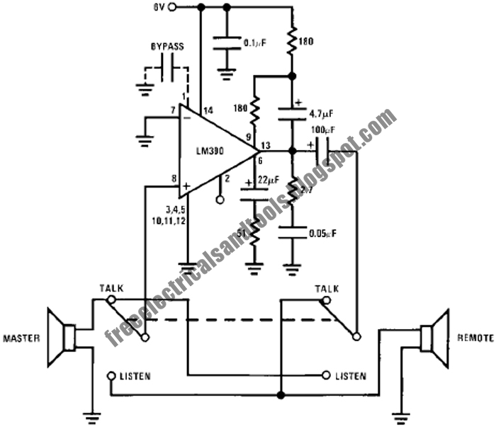 free schematic diagram  intercom circuit using lm390