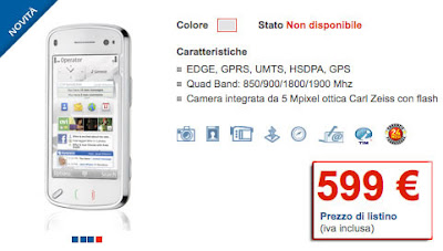 Nokia N97 to be available at €599 on TIM