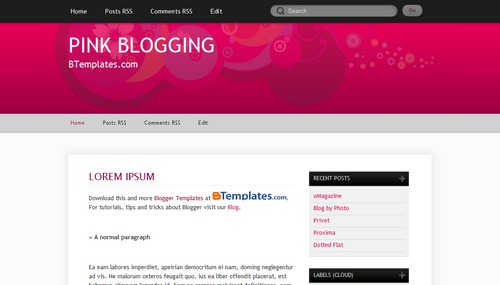 Free Blogger Templates Download: Pink Blogging