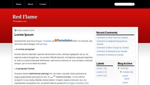 Free Blogger Templates Download: Red Flame