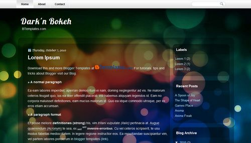 Free Blogger Templates Download: Dark'n Bokeh