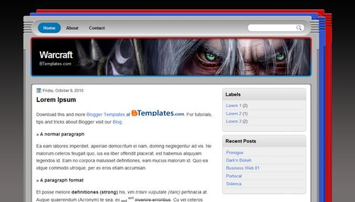 Free Blogger Templates Download: Warcraft