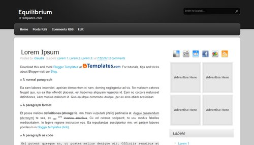 Free Blogger Templates Download: Equilibrium