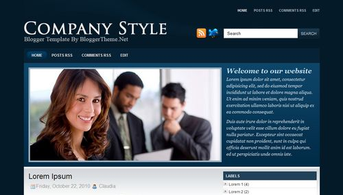 Free Blogger Templates Download: Company Style Blue