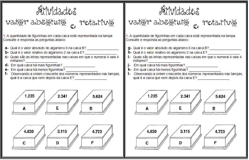 ATIVIDADES MATEM  TICAS   ENSINO FUNDAMENTAL   CICLO I