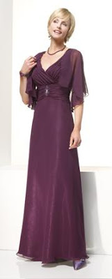 A flowy plum mother of the bride gown