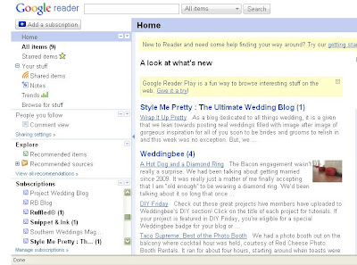 Snapshot of my Google Reader.