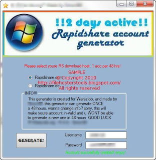 Rapidshare Free Account Generator