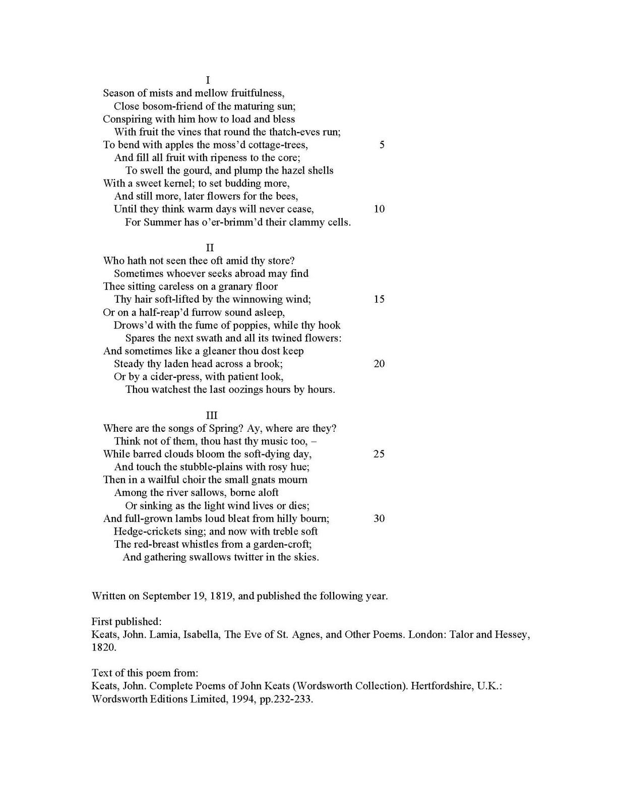 to autumn john keats analysis pdf