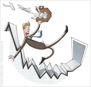 Michael Mantel Stockillu Stock Illustration stockillustrations Aktienkurs Börse Geld Fonds im Keller Börsenkrach Kurssturz