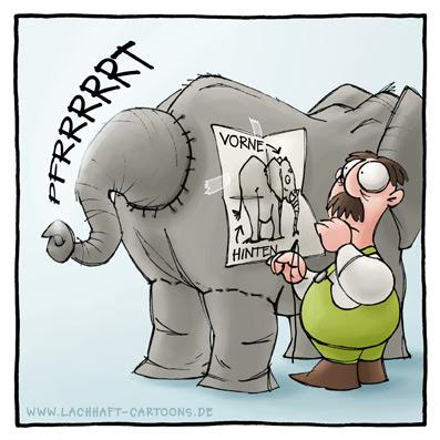 Elefant zusammennähen Teile Zoo Furz Pups furzen pupsen Furzwitz Pupswitz vorne hinten verkehrtherum Fehler Anleitung Cartoon Cartoons Witze witzig witzige lustige Bildwitze Bilderwitze Comic Zeichnungen lustig Karikatur Karikaturen Illustrationen Michael Mantel lachhaft Spaß Humor