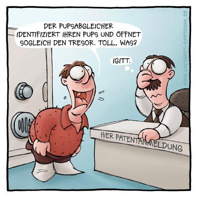 Patentamt Erfindung Erfinder patent anmelden Pupsabgleicher Furz Tresor Code Cartoon Cartoons Witze witzig witzige lustige Bildwitze Bilderwitze Comic Zeichnungen lustig Karikatur Karikaturen Illustrationen Michael Mantel lachhaft Spaß Humor