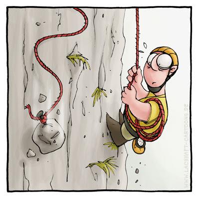 Bergsteiger bergsteigen klettern Kletterwand Steinschlag Absturz Berge angeseilt Cartoon Cartoons Witze witzig witzige lustige Bildwitze Bilderwitze Comic Zeichnungen lustig Karikatur Karikaturen Illustrationen Michael Mantel lachhaft Spaß Humor