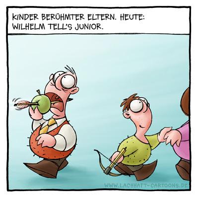 Kinder berühmter Eltern Wilhelm Tell Armbrust Schuss schießen Apfel Cartoon Cartoons Witze witzig witzige lustige Bildwitze Bilderwitze Comic Zeichnungen lustig Karikatur Karikaturen Illustrationen Michael Mantel lachhaft Spaß Humor