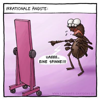 Spinne irrationale ängste Spiegelbild angst Cartoon Cartoons Witze witzig witzige lustige Bildwitze Bilderwitze Comic Zeichnungen lustig Karikatur Karikaturen Illustrationen Michael Mantel lachhaft Spaß Humor