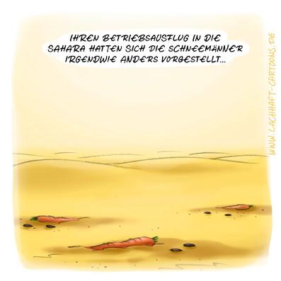 LACHHAFT Cartoon Betriebsausflug Sahara Schneemann Schneemänner Wüste Karotten, Mohrrüben Möhren schmelzen Schnee Hitze Sonne  Cartoons Witze witzig witzige lustige Bildwitze Bilderwitze Comic Zeichnungen lustig Karikatur Karikaturen Illustrationen Michael Mantel Spaß Humor