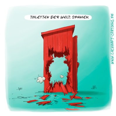 LACHHAFT Cartoon Toiletten der Welt Spanien Stier Klowitze Toilettenwitze Klohäuschen kaputt Cartoons Witze witzig witzige lustige Bildwitze Bilderwitze Comic Zeichnungen lustig Karikatur Karikaturen Illustrationen Michael Mantel Spaß Humor