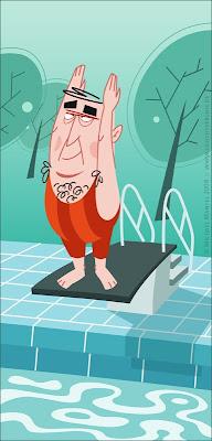 Michael Mantel Illustration Schwimmbad schwimmen Sprungbrett
