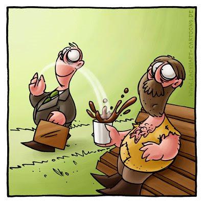 Spende Bettler Penner Obdachloser Parkbank Geschäftsmann großzügig sozialkritisch Kaffee trinken Becher Hand aufhalten Geld milde Gabe Cartoon Cartoons Witze witzig witzige lustige Bildwitze Bilderwitze Comic Zeichnungen lustig Karikatur Karikaturen Illustrationen Michael Mantel lachhaft Spaß Humor