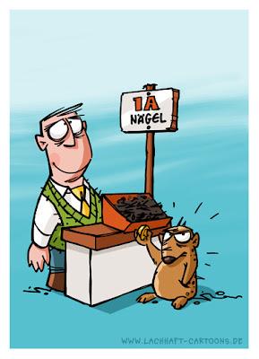 Igel Vertreter Verkäufer Nagel Nägel nackt peinlich Stacheln verloren Cartoon Cartoons Witze witzig witzige lustige Bildwitze Bilderwitze Comic Zeichnungen lustig Karikatur Karikaturen Illustrationen Michael Mantel lachhaft Spaß Humor