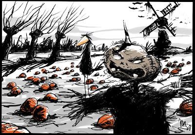 Michael Mantel, Halloween, Kürbis, Vogelscheuche,  Rabe, Mühle, Weiden, gruselig Horrorfilm