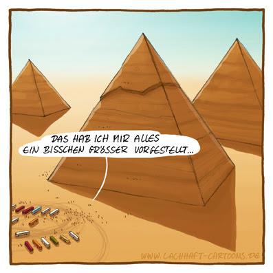 Ägypten Pyramiden von Gizeh Giza Reisegruppe Touristen Urlaub Ferien Pauschaltouristen Reisebusse Parkplatz Wüste Größenwahnsinn peinlich Cartoon Cartoons Witze witzig witzige lustige Bildwitze Bilderwitze Comic Zeichnungen lustig Karikatur Karikaturen Illustrationen Michael Mantel lachhaft Spaß Humor