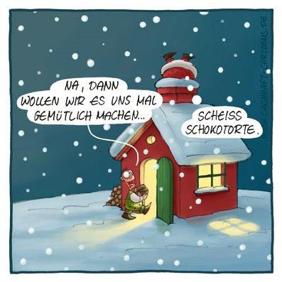 Weihnachtscartoon Weihnachten Weihnachtsmann Kamin Schornstein verstopft Verstopfung Winter Schnee Brennholz Feuer gemütlich warm Cartoon Cartoons Witze witzig witzige lustige Bildwitze Bilderwitze Comic Zeichnungen lustig Karikatur Karikaturen Illustrationen Michael Mantel lachhaft Spaß Humor