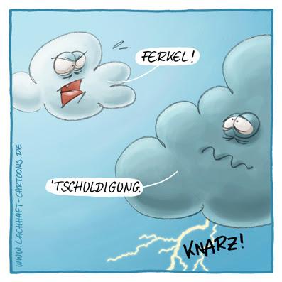 Wolken Blitz Gewitter Donnerwetter pupsen furzen Ferkel Cartoon Cartoons Witze witzig witzige lustige Bildwitze Bilderwitze Comic Zeichnungen lustig Karikatur Karikaturen Illustrationen Michael Mantel lachhaft Spaß Humor