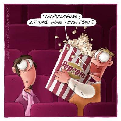 Popcorn Kino Höflichkeit unhöflich schmatzen Essen aufdringlich Film gucken Kinobesuch Cartoon Cartoons Witze witzig witzige lustige Bildwitze Bilderwitze Comic Zeichnungen lustig Karikatur Karikaturen Illustrationen Michael Mantel lachhaft Spaß Humor