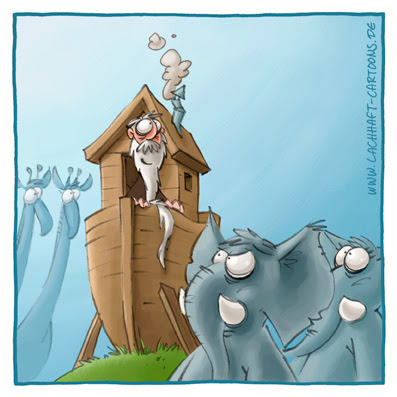 Arche Noah Bibel Geschichten Elefanten Giraffen Schiff Boot zu klein Arsch Arschloch Egoist eigensinnig alter Mann Cartoon Cartoons Witze witzig witzige lustige Bildwitze Bilderwitze Comic Zeichnungen lustig Karikatur Karikaturen Illustrationen Michael Mantel lachhaft Spaß Humor